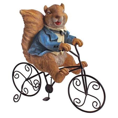 Design Toscano Special Delivery: Squirrel Bicycle Messenger Garden Statue - Squirrel Statue