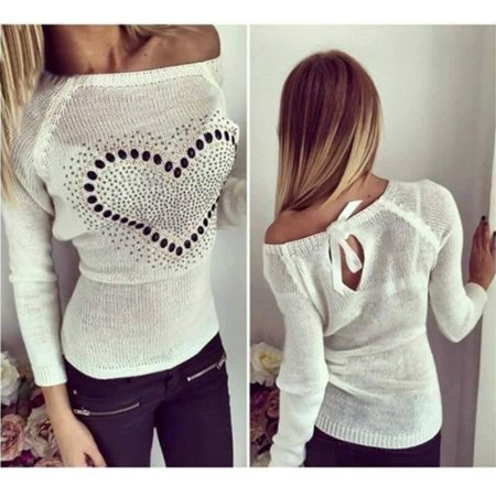 Women Long Sleeve Knitted Tops Casual Slim Pullovers Sweater