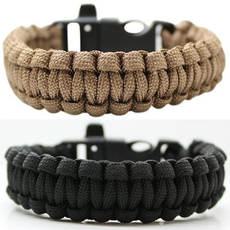 SAS Survival Paracord Bracelet 550lbs with Whistle - 2/pack (Camo Paracord Bracelet)