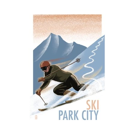 Halloween City Utah (Park City, Utah - Downhill Skier Lithography Style Print Wall Art By Lantern)