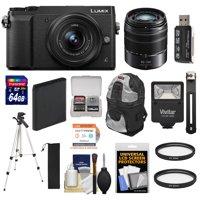 Panasonic Lumix DMC-GX85 4K Wi-Fi Digital Camera & 12-32mm & 45-150mm Lens (Black) with 64GB Card + Battery + Cases + Tripod + Filters + Card Reader + Cleaning Kit