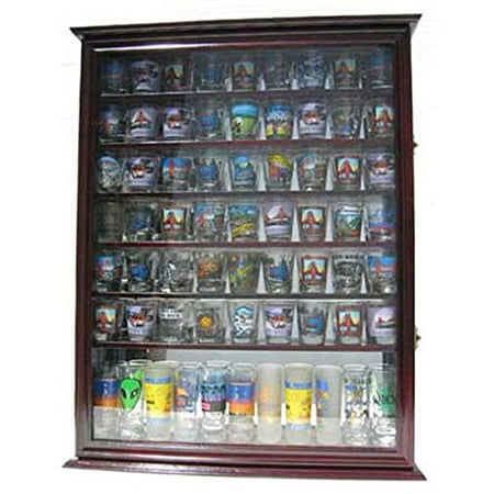 Large 72 Shot Glass Display Case Cabinet Rack Holder-Glass Door, Mirror Back - Cherry Finish (Large China Cabinet)