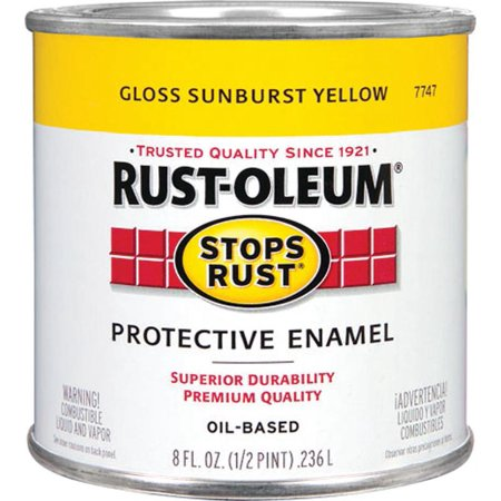Rust-Oleum Stops Rust Protective Enamel, Gloss Sunburst Yellow, 1/2 pt