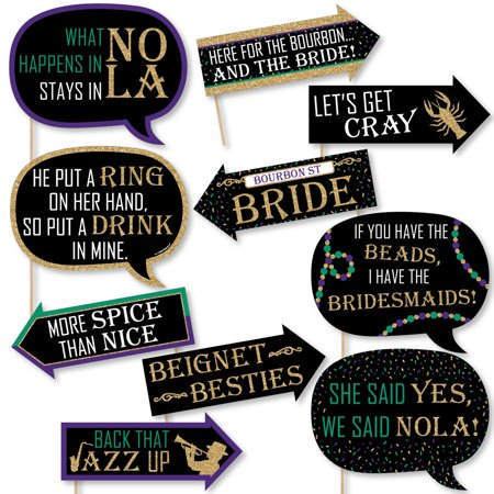 Funny NOLA Bride Squad - New Orleans Bachelorette Party Photo Booth Props Kit - 10 Piece](Wedding Supplies New Orleans)