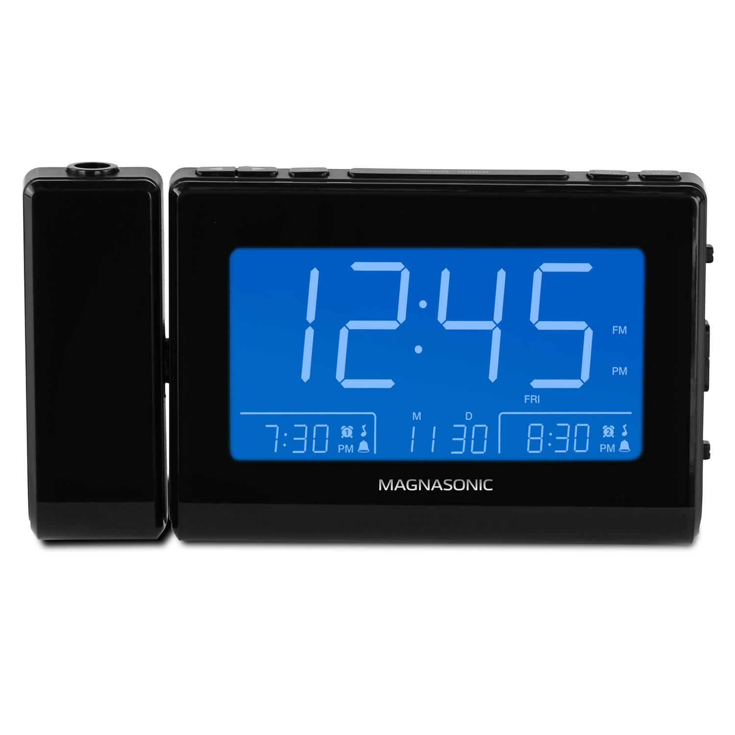 """Magnasonic Alarm Clock Radio with USB Charging for Smartphones & Tablets, Time Projection, Auto Dimming, Battery Backup, Auto Time Set, Large 4.8"""" LED Display, AM/FM (CR64) - 1 Year Extended Warranty - image 1 de 8"""