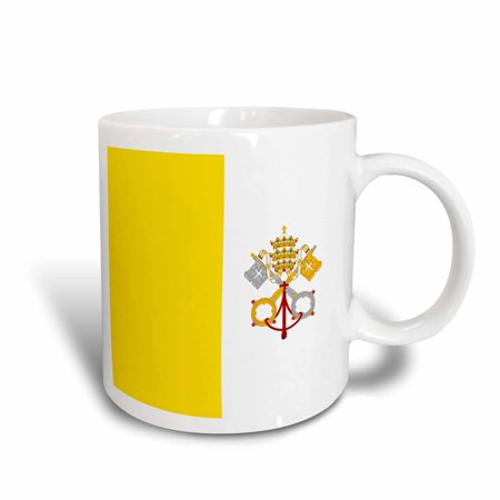 3dRose Flag of Vatican City - gold yellow and white with crossed keys of Saint Peter and Papal Tiara crown, Ceramic Mug, 15-ounce