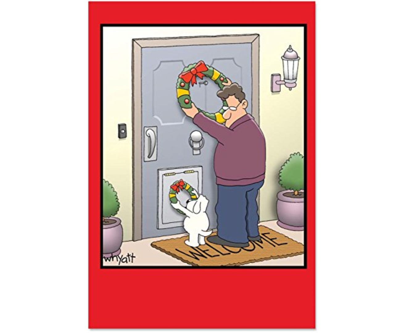 B1657 Box Set of 12 Dog Wreath Inappropriate Christmas Cards with ...