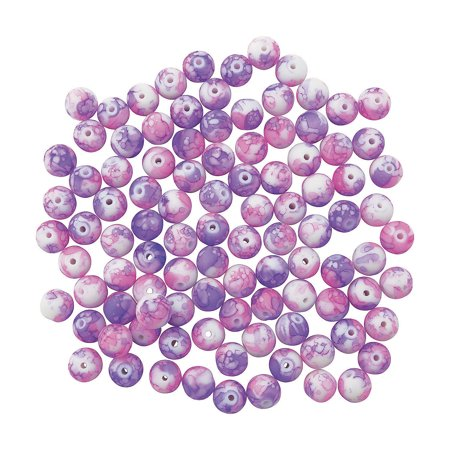 Fun Express - Bright Pink And Purple Tie Dyed Beads for Valentine's Day - Craft Supplies - Adult Beading - Glass Beads - Valentine's Day - 100 Pieces](St Patrick's Day Beads)