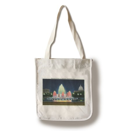 Washington, DC - Evening View of the Illuminated Fountain on Capitol Plaza (100% Cotton Tote Bag - Reusable)