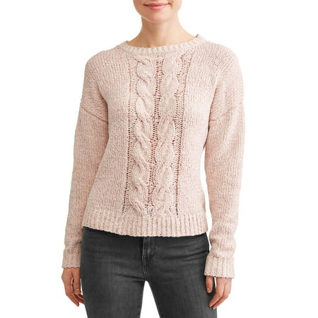 Women's Cable Knit Sweater - Plus Cable Knit Trim Sweaters