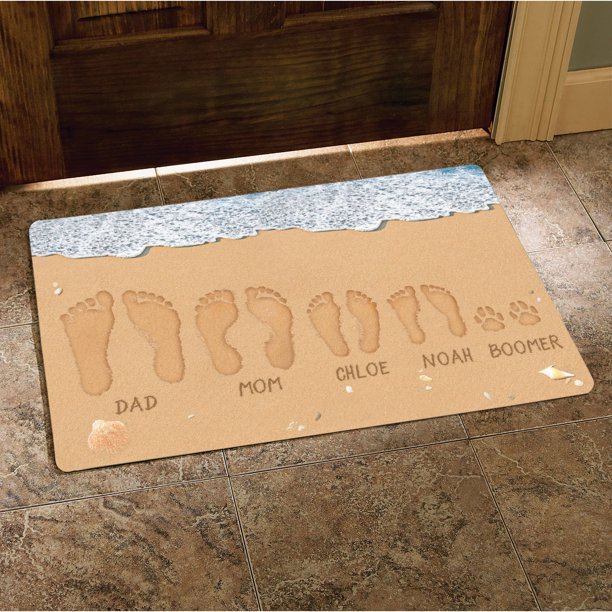 "Personalized Sandy Footprints Doormat, 17"" x 27"""