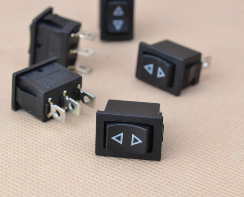 5x Mini Momentary Rocker Switch 3-Pin Spring Hoist Window Temporary Up/Down  Type