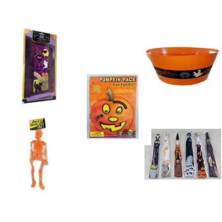 Halloween Fun Gift Bundle [5 Piece] - Happy  Door Panel - 17.75 Inch Orange