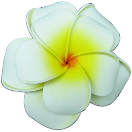 Plumeria Foam Double Flower Large Hair Clip White & Yellow for $<!---->