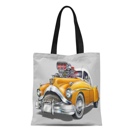 LADDKE Canvas Tote Bag Auto Vintage Hot Rod Car Dragster Sign Wheels 1950S Reusable Shoulder Grocery Shopping Bags Handbag
