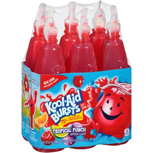 Kool-Aid Bursts Tropical Punch Soft Drink, 6.75 fl oz, 6 count