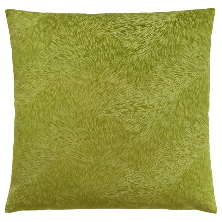 Monarch Feathered Velvet Throw Pillow in Lime (Lite Green)