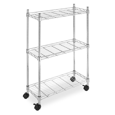 Whitmor 3 Tier Supreme Laundry Cart and Versatile Storage Solution - Chrome