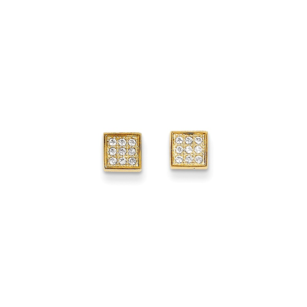 14k Yellow Gold Childs CZ Square Post Earrings w/ Gift Box. (5.3MM)