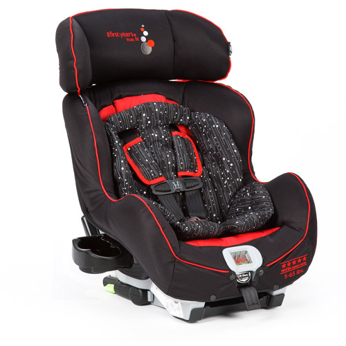 The First Years - True Fit Convertible Car Seat, Sticks and Stones/Black and Red