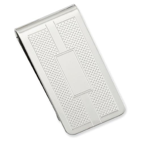 Rhodium-plated Honey Comb & Square Engravable Money Clip