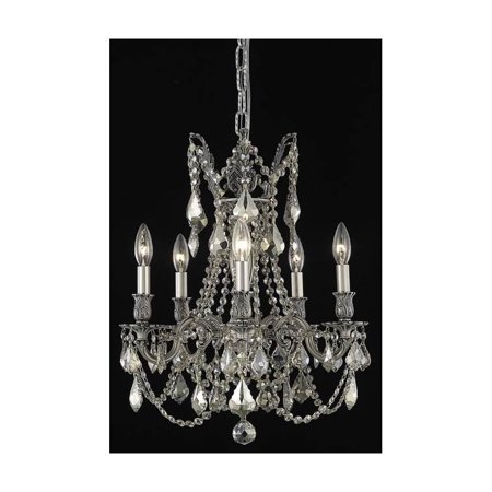 Traditional Crystal Chandelier in Pewter Finish (Royal Cut Golden Teak Crystals)