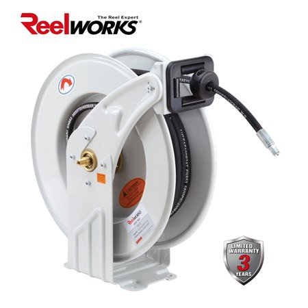 Reelworks Heavy Duty Spring Driven Hose Reel  1 4   X 50 Ft  Grease Reel