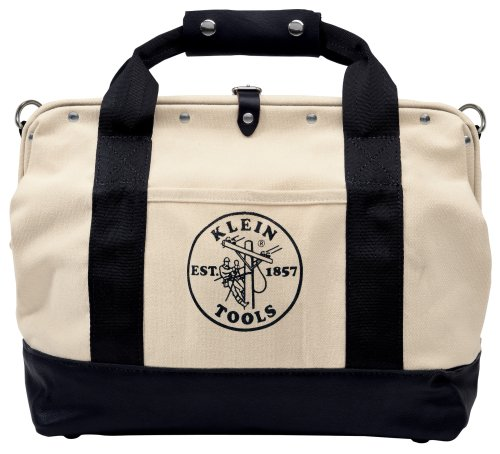 Klein Tools 5003-18 18-Inch Pocket Canvas Tool Bag with Leather Bottom,Tan,Small