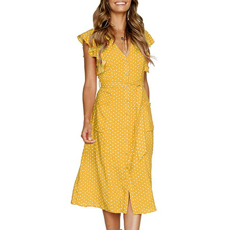 Women's Summer Boho Polka Dot Sleeveless V Neck Swing Midi Dress Pockets - Pocahontas Dress