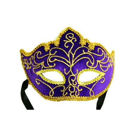 Purple Velour & Gold Brocade Mardi Gras Face Mask (Grinch Mask Uk)