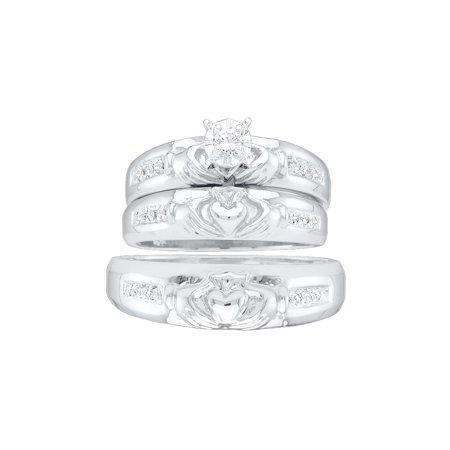 10k White Gold Diamond Matching Claddagh Mens Womens His Hers Trio Wedding Ring Set (.14 cttw.) size- (Ladies Claddagh Diamond Set)