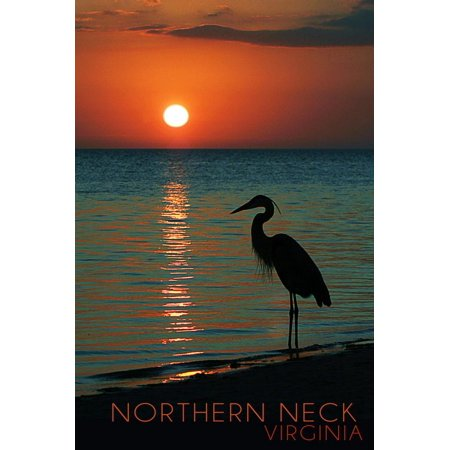 Northern Neck, Virginia - Heron and Sunset Print Wall Art By Lantern