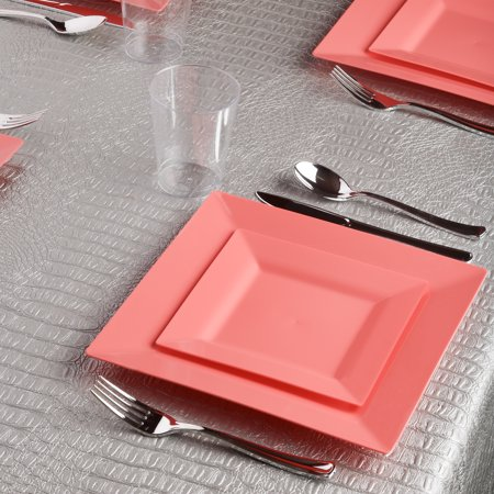 Kaya Collection - Square Coral Blush Peach Disposable Plastic Dinnerware Party Package - 20 Person Package - Includes Dinner Plates, Salad/Dessert Plates, Silver Cutlery and Tumblers