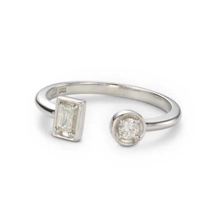 Charles & Colvard Forever Classic Round and Baguette Moissanite Two Stone Ring