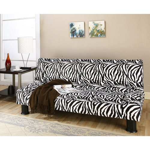 Primo Maple Convertible Futon Sofa Bed, Zebra Safari