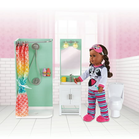 "My Life As Bathroom Play Set for 18"" Dolls, 17 Pieces"