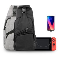 Travel Bag with USB Charging Port, TSV Protective Storage Sling Backpack Shoulder Bag Fit for Nintendo Switch, iPad, Smartphone, Music Player