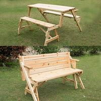 Outsunny 2 in 1 Convertible Picnic Table Garden Bench