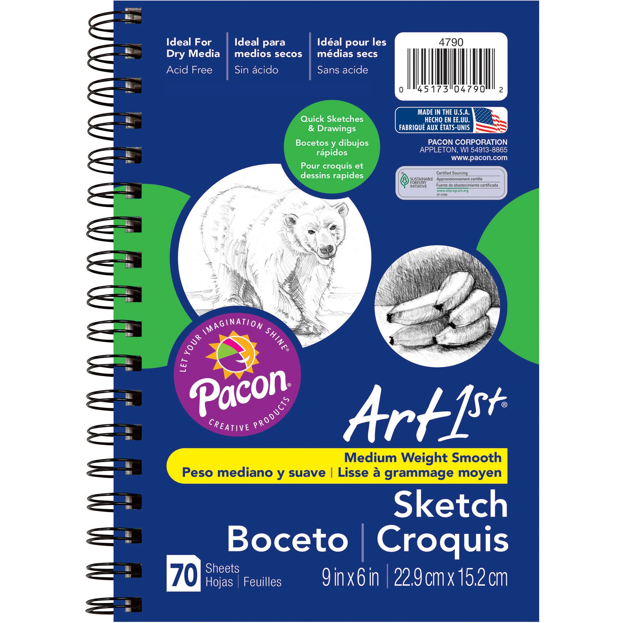 Art1st® Sketch Diary, White Drawing Paper, 70 Sheets, 9 x 6 in.