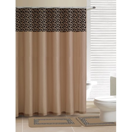 Home Dynamix Designer Bath Shower Curtain And Rug Set DB15L 150 Leopard Beige