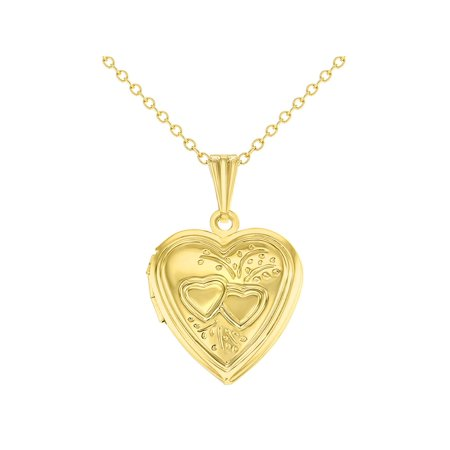 Gold Tone Small Love Double Heart Photo Locket Pendant Necklace 19