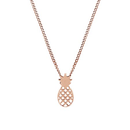14k Rose Gold Over Sterling Silver Adorable Pineapple Charm Love Gift Pendant - Adorable Necklace Set