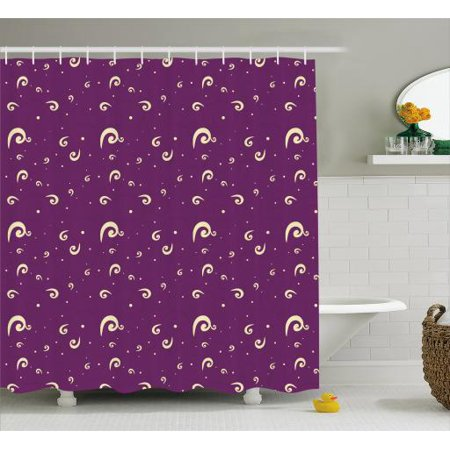 Purple And Cream Shower Curtain Abstract Curls On Background Traditional Motifs Fabric Bathroom