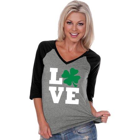 ST Patty's Day Love Shamrock Ladies V-Neck Raglan, (St Patty's Day Shirts)