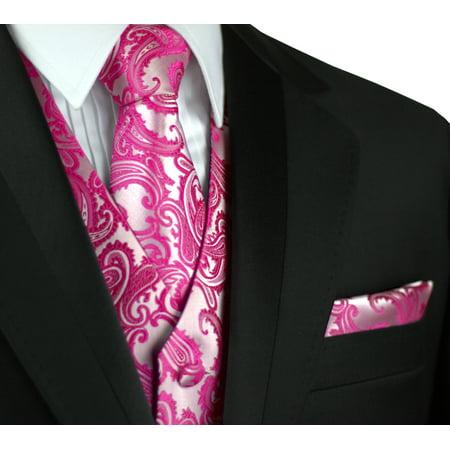 Italian Design, Men's Tuxedo Vest, Tie & Hankie Set in Fuchsia Paisley - Mardi Gras Tuxedo Vest