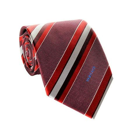 Basket Woven Silk Tie (Versace Men's Multi Striped Woven Silk)
