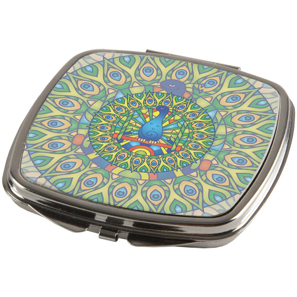 Mandala Trippy Stained Glass Peacock Compact