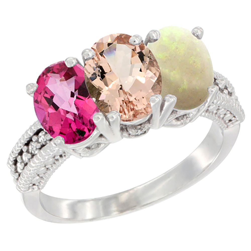 10K White Gold Natural Pink Topaz, Morganite & Opal Ring 3-Stone Oval 7x5 mm Diamond Accent, sizes 5 10 by WorldJewels