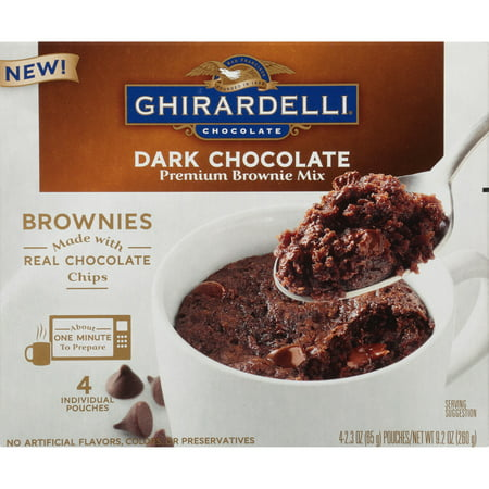 (6 Pack) Ghirardelli Dark Chocolate Mug Brownie Mix, 9.2oz Box