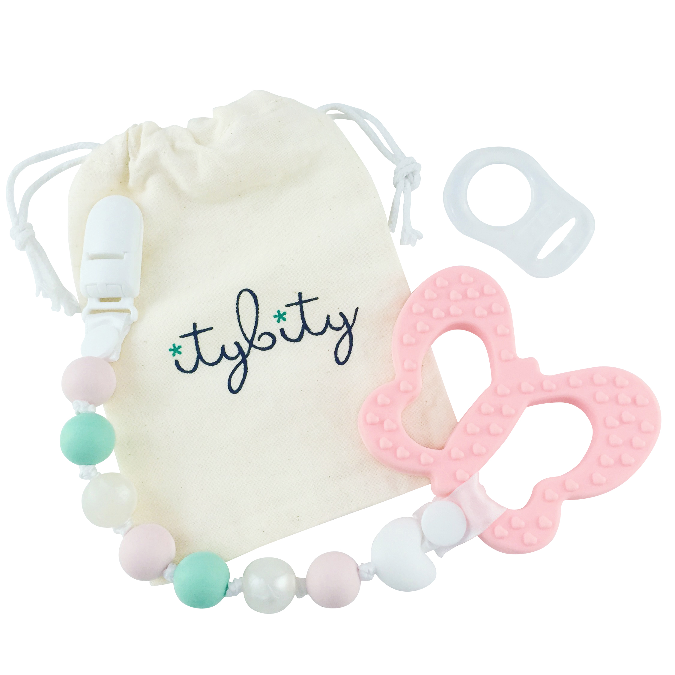 Pacifier Clip Girl, BPA Free Silicone Teether, Butterfly Teething Toy (Pink/Mint)